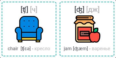 [ʧ] chair (кресло) - [ʤ] jam (варенье)